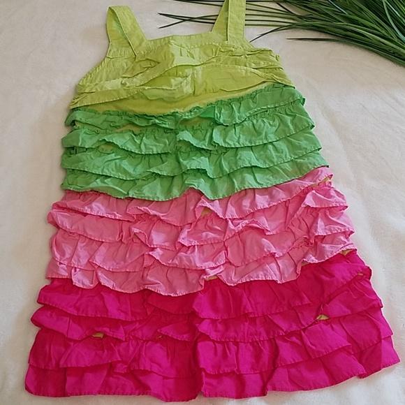 Gymboree tiered ruffle sundress pink green 5yrs